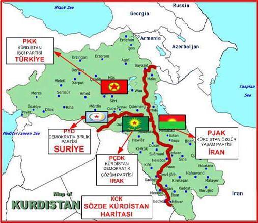 O χάρτης της Ένωσης Κουρδικών Κοινοτήτων (KCK), που είναι η κεντρική οργάνωση του ΡΚΚ για όλες τις κουρδικές κοινότητες