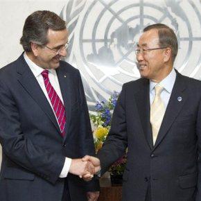 «Πάρα πολύ ευχαριστημένος» από τις επαφές στις ΗΠΑ δήλωσε ο Αντ.Σαμαράς Τα εθνικά θέματα επί τάπητος στη συνάντηση του Πρωθυπουργού με τον Μπανκι-Μουν