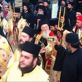 Λαμπρή υποδοχή του Οικουμενικού Πατριάρχη στο ΆγιοΌρος