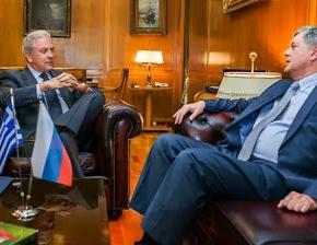 Συνάντηση ΥΕΘΑ Δημήτρη Αβραμόπουλου με Πρέσβη Ρωσικής Ομοσπονδίας VladimirChkhikvishvili