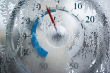 thermometer behind the frozen window