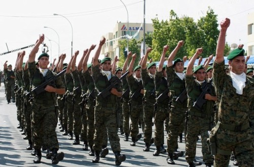 Cypriot national guard commandos march d