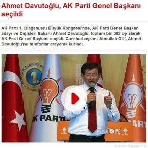 Τουρκία: Ο Αχμέτ Νταβούτογλου εξελέγη αρχηγός του κυβερνώντοςκόμματος