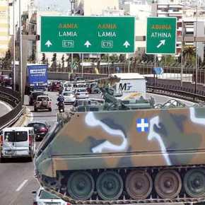 Δεκάδες τεθωρακισμένα οχήματα μεταφοράς προσωπικού τύπου Μ113 στην εθνική οδόΑθηνών-Λαμίας