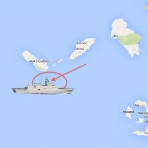 Nότια της Φολέγανδρου πλέει αυτήν την ώρα η Τούρκικη Κορβέτα (Χάρτης)…Στο κατόπι της είναι η (Φ/ΓΈΛΛΗ)!