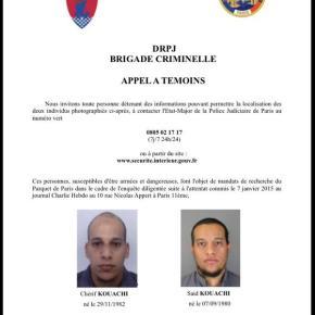 Παραδόθηκε ένας από τους υπόπτους για τη σφαγή στο Charlie Hebdo, εντάλματα για τους άλλουςδυο
