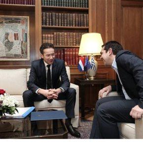 Τσίπρας προς Ντάισελμπλουμ: Η χώρα μας εφαρμόζει ένα αποτυχημένο πρόγραμμα – Μια συμφωνία θα είναι θετική για την Ευρώπη«Το πρόγραμμα αυτό απορρίφθηκε από την ετυμηγορία του ελληνικού λαού» είπε ο Πρωθυπουργός στο επικεφαλής τουEurogroup