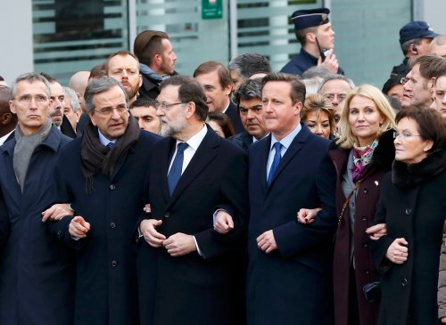 Head of states attend the solidarity march in the streets of Paris