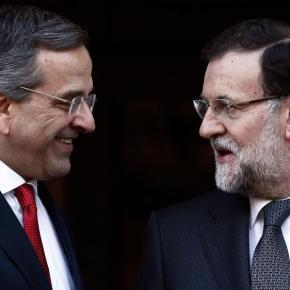 ΒΙΝΤΕΟ-   Συνάντηση του πρωθυπουργού με τον Ισπανό ομόλογό του Μαριάνο Ραχόι Αντώνης Σαμαράς: «Ανοησίες τα περί διαπραγμάτευσης του χρέους από μηδενική βάση» | Ραχόι: «Πραγματικός ηγέτης οΣαμαράς»
