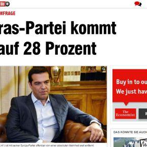 Σύμφωνα με δημοσκόπηση για λογαριασμό της γερμανικής εφημερίδας Bild: Στο 28% ο ΣΥΡΙΖΑ, στο 25% η ΝΔ, στο 8% η ΛαϊκήΕνότητα