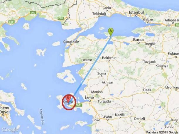bandirma-cesme-izmir-harita-km-uzaklik-mesafe
