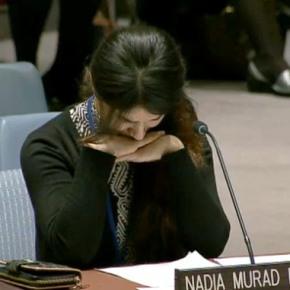 Γυναίκα Γεζίντι (Χριστιανή)  αιχμάλωτητου Isil ωςσκλάβα του σεξ δίνει μια φορτιζμένη συναισθηματικά ομιλία στονΟΗΕ