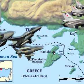 Οι Τούρκοι με 8 μαχητικά εισέβαλαν Νότια της Ρόδου και «ενεπλάκησαν με τους Κουζουλούς» στοΚαστελόριζο!