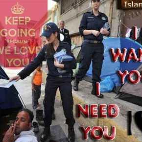 Γυναίκες λιμενικοί μοιράζουν φυλλάδια με το «σας αγαπάμε» στους πρόσφυγες και λάθρο – Μόνο να μην το παρεξηγήσουν…