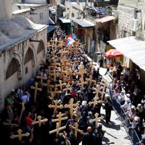 Ιερουσαλήμ: Η πομπή στην Οδό του Μαρτυρίου έως τον Γολγοθά –φωτο