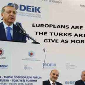 Ερντογάν προς Ευρωπαίους: «Δεν μας κάνετε και χάρη με την χορήγηση βίζας στους Τούρκους πολίτες για ταξίδια στηνΕΕ»!!