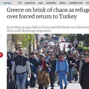 «Observer»: Η Ελλάδα βρίσκεται στο χείλος του χάους λόγω του προσφυγικού Κυρίτσης: Περιμένουμε ξέσπασμα βίας από τουςμετανάστες