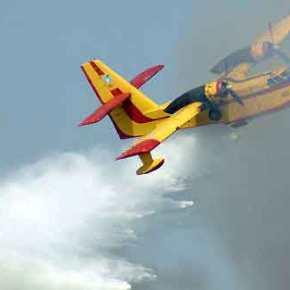 Ικανότητες και Άγιο είχαν οι δυο πιλότοι του CL 215! Έπιασε φωτιά στοναέρα!
