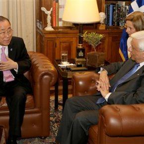 Στη Αθήνα ο ΓΓ του ΟΗΕ Μπαν Γκι Μουν: Η Ελλάδα έχει επιδείξει παγκόσμιας κλίμακαςαλληλεγγύη