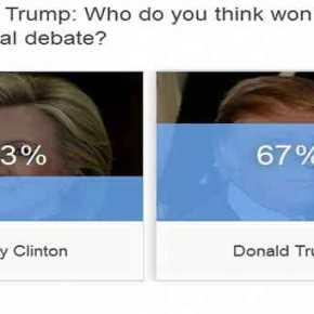 Νικητής ο Ντ.Τραμπ στην τηλεοπτική αναμέτρηση με τη Χ.Κλίντον σύμφωνα με διαδικτυακή δημοσκόπηση τουCNBC