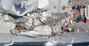 """Επτά ναύτες αγνοούνται από τη σύγκρουση αμερικανικού πολεμικού με εμπορικό πλοίο – """"Τσακισμένο"""" αντιτορπιλικό! Η φωτογραφία του USS Fitzgerald μετά τησύγκρουση"""