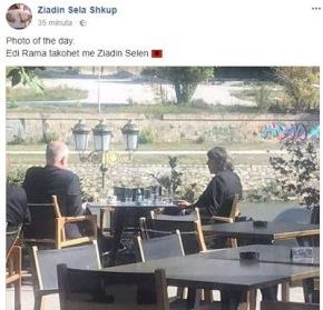 Ο Έντι Ράμα σε καφενείο στα Σκόπια, μετά τη συνάντηση με τον ΖόρανΖάεφ