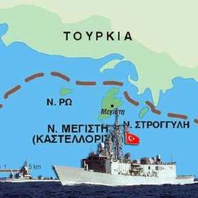 """""""Περιτριγυρίζει"""" το Καστελόριζο η Τουρκία! Δύο NAVTEX για ασκήσεις με πραγματικάπυρά"""