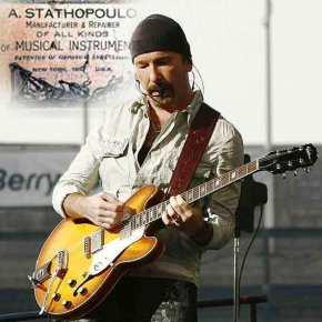 Η κιθάρα του Edge των «U2». Την επινόησε ο Επαμεινώνδας Σταθόπουλος από τη Λακωνία, που ήταν και ο εφευρέτης της μασίφ ηλεκτρικής κιθάρας. Η καταξίωση και τοτέλος
