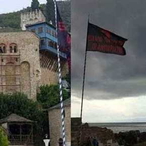 Σήκωσαν μαύρες σημαίες στο Άγιο Όρος για τον ανεπιθύμητο Τσίπρα που γράφουν: «Έξω οιΑντίχριστοι»