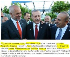 Πρέσβης Τουρκίας στα Τίρανα: Στην Τουρκία υπάρχουν περισσότεροι Αλβανοί από όλον τον πληθυσμό τηςΑλβανίας