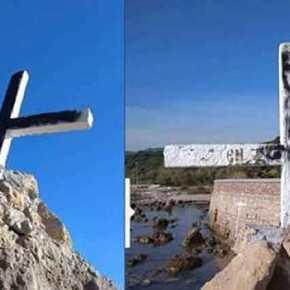 Προκλητική επίθεση κατά της Ορθοδοξίας – Αλλόθρησκοι έβαψαν μαύρο τον σταυρό στηΛέσβο