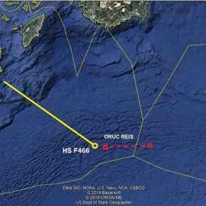 Που βρίσκεται το Oruc Reis και που η φρεγάτα ΝικηφόροςΦωκάς-Χάρτης