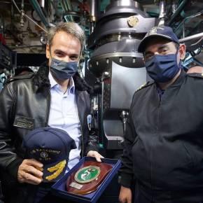 Στο υποβρύχιο «Κατσώνης» ο Κυριάκος Μητσοτάκης: «Είστε οι αόρατες και αθόρυβες ασπίδεςμας»