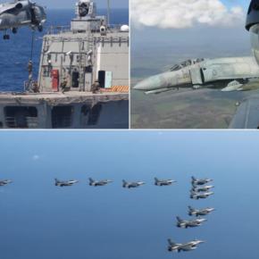 Μήνυμα αποτροπής από τον Ελληνικό Στόλο και την ΠολεμικήΑεροπορία.