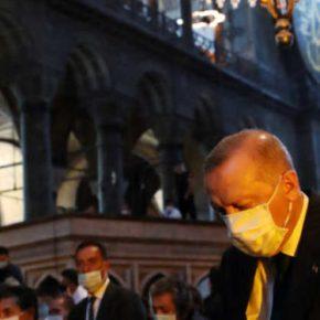Ερντογάν: Προκαλεί ξανά με δωρεά στην Αγιά Σοφιά ενός πίνακα με στίχους του Κορανίου [pic] 08/12/2020 –21:14