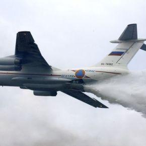 Φωτιές: Στην Αθήνα το πρώτο θηριώδες ρωσικό αεροσκάφος Ilyushin Il-76(vid)